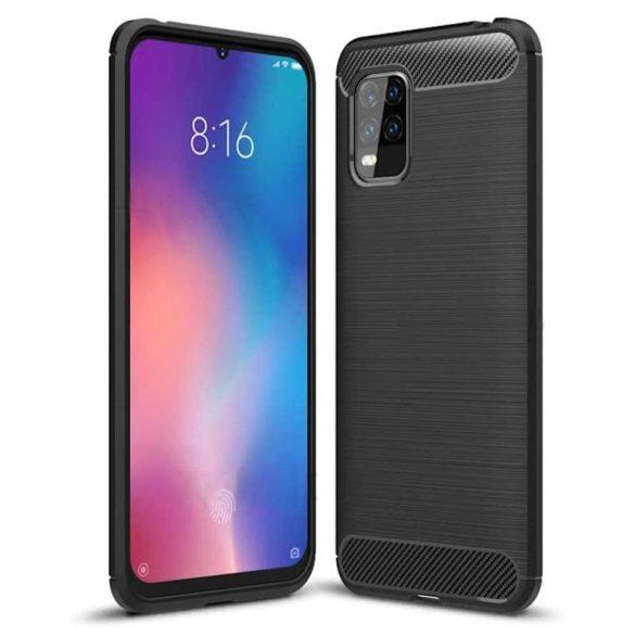 Carbon tok Rugalmas tok TPU tok Xiaomi Mi 10 Lite fekete telefontok