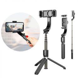 szelfi selfie Stick Állvány Teleszkópos állvány és a Bluetooth távfelügyelet gimbal fekete