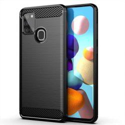Carbon tok Rugalmas tok TPU tok Samsung Galaxy A21S fekete telefontok