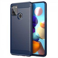 Carbon tok Rugalmas tok TPU tok Samsung Galaxy A21S kék telefontok