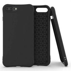 Puha színes tok rugalmas gél tok iPhone 8 Plus / iPhone 7 Plus fekete telefontok
