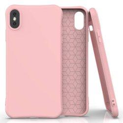 Puha színes tok rugalmas gél tok iPhone XS / iPhone X pink telefontok