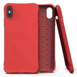 Puha színes tok rugalmas gél tok iPhone XS Max piros telefontok