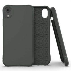 Puha színes tok rugalmas gél tok iPhone XR sötétzöld telefontok