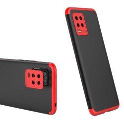 GKK 360 Protection tok Első és hátsó tok az egész testet fedő Xiaomi Mi 10 Lite fekete-piros telefontok