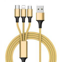 3in1 Nylon Fonott USB - micro USB / Lightning / USB-C kábel 1 m arany