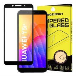 Wozinsky edzett üveg tempered glass FullGlue Super Tough képernyővédő fólia teljes képernyős kerettel tok barát Huawei Y5p fekete üvegfólia