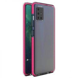 Spring tok világos TPU gél védőburkolat színes kerettel Samsung Galaxy A21S rózsaszín telefontok