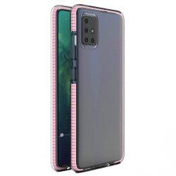 Spring tok világos TPU gél védőburkolat színes kerettel Samsung Galaxy A21S világos rózsaszín telefontok