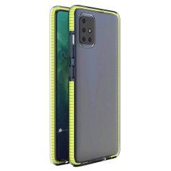 Spring tok világos TPU gél védőburkolat színes kerettel Samsung Galaxy A21S sárga telefontok
