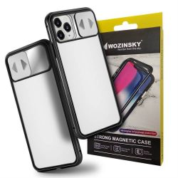 Wozinsky Mágneses Cam Slider tok egész testet fedő beépített elülső üveg lencse rotector Huawei P30 Pro fekete telefontok