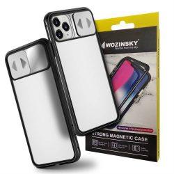 Wozinsky Mágneses Cam Slider tok egész testet fedő beépített elülső üveg lencse rotector Huawei P40 Pro fekete telefontok