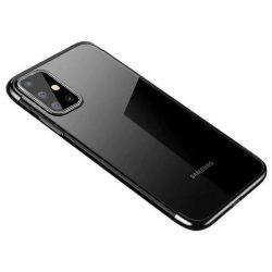 Clear Color Gel tok TPU galvanizált tok Samsung Galaxy A41 fekete telefontok