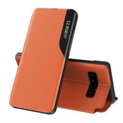 Eco Leather View tok elegáns Bookcase kihajtható tok kitámasztóval Samsung Galaxy S10 + (S10 Plus) narancssárga telefontok