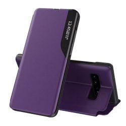 Eco Leather View tok elegáns Bookcase kihajtható tok kitámasztóval Samsung Galaxy S10 + (S10 Plus) lila telefontok