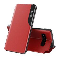 Eco Leather View tok elegáns Bookcase kihajtható tok kitámasztóval Samsung Galaxy S10 piros telefontok