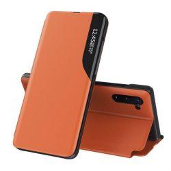Eco Leather View tok elegáns Bookcase kihajtható tok kitámasztóval Samsung Galaxy Note 10 narancs telefontok
