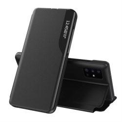 Eco Leather View tok elegáns Bookcase kihajtható tok kitámasztóval Samsung Galaxy A51 fekete telefontok
