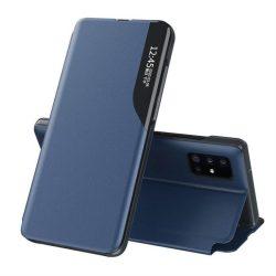 Eco Leather View tok elegáns Bookcase kihajtható tok kitámasztóval Samsung Galaxy A71 kék telefontok