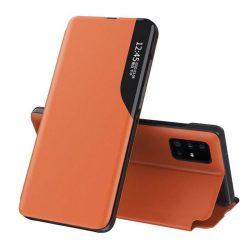 Eco Leather View tok elegáns Bookcase kihajtható tok kitámasztóval Samsung Galaxy A71 narancs telefontok