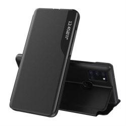 Eco Leather View tok elegáns Bookcase kihajtható tok kitámasztóval Samsung Galaxy A21S fekete telefontok