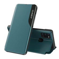 Eco Leather View tok elegáns Bookcase kihajtható tok kitámasztóval Samsung Galaxy A21S zöld telefontok