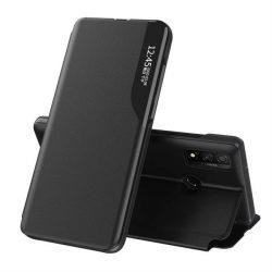 Eco Leather View tok elegáns Bookcase kihajtható tok kitámasztóval Huawei P40 Lite fekete telefontok