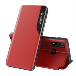 Eco Leather View tok elegáns Bookcase kihajtható tok kitámasztóval Huawei P40 Lite piros telefontok
