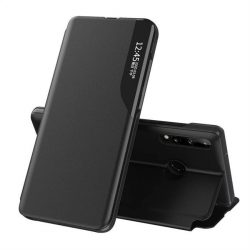 Eco Leather View tok elegáns Bookcase kihajtható tok kitámasztóval Huawei P40 Lite E fekete telefontok