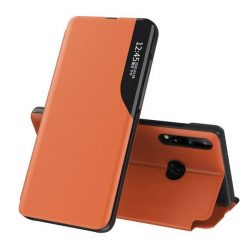 Eco Leather View tok elegáns Bookcase kihajtható tok kitámasztóval Huawei P40 Lite E narancs telefontok