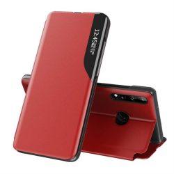 Eco Leather View tok elegáns Bookcase kihajtható tok kitámasztóval Huawei P40 Lite E piros telefontok