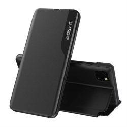 Eco Leather View tok elegáns Bookcase kihajtható tok kitámasztóval Huawei Y5p fekete telefontok