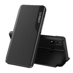 Eco Leather View tok elegáns Bookcase kihajtható tok kitámasztóval Huawei P smart 2019 fekete telefontok