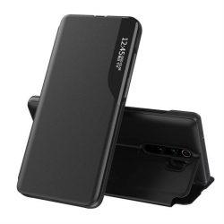 Eco Leather View tok elegáns Bookcase kihajtható tok kitámasztóval a Xiaomi redmi Note 8 Pro fekete telefontok