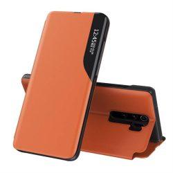 Eco Leather View tok elegáns Bookcase kihajtható tok kitámasztóval a Xiaomi redmi Note 8 Pro narancs telefontok