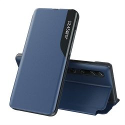 Eco Leather View tok elegáns Bookcase kihajtható tok kitámasztóval a Xiaomi Mi 10 Pro / Xiaomi Mi 10 kék telefontok