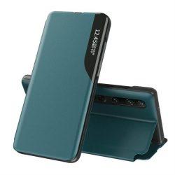 Eco Leather View tok elegáns Bookcase kihajtható tok kitámasztóval a Xiaomi Mi 10 Pro / Xiaomi Mi 10 zöld telefontok