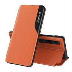 Eco Leather View tok elegáns Bookcase kihajtható tok kitámasztóval a Xiaomi Mi 10 Pro / Xiaomi Mi 10 narancs telefontok