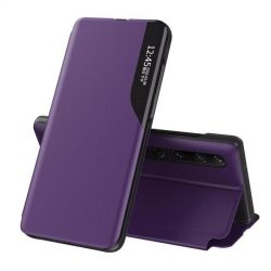 Eco Leather View tok elegáns Bookcase kihajtható tok kitámasztóval a Xiaomi Mi 10 Pro / Xiaomi Mi 10 lila telefontok
