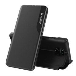 Eco Leather View tok elegáns Bookcase kihajtható tok kitámasztóval a Xiaomi redmi Note 9 Pro / redmi Note 9s fekete telefontok