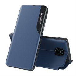 Eco Leather View tok elegáns Bookcase kihajtható tok kitámasztóval a Xiaomi redmi Note 9 Pro / redmi Note 9s kék telefontok