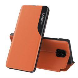 Eco Leather View tok elegáns Bookcase kihajtható tok kitámasztóval a Xiaomi redmi Note 9 Pro / redmi Note 9S narancs telefontok