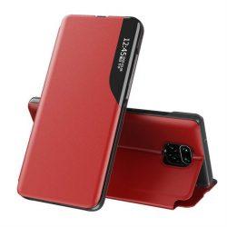 Eco Leather View tok elegáns Bookcase kihajtható tok kitámasztóval a Xiaomi redmi Note 9 Pro / redmi Note 9s piros telefontok