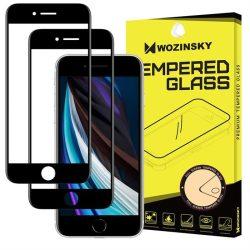Wozinsky 2x edzett üveg tempered glass Teljes Glue Super Tough képernyővédő fólia teljes képernyős kerettel tok barát iPhone SE 2020 / iPhone 8 / iPhone 7 / iPhone 6S / iPhone 6 fekete üvegfólia