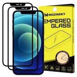 Wozinsky 2x edzett üveg tempered glass Teljes Glue Super Tough képernyővédő fólia teljes képernyős kerettel tok barát iPhone 11 / iPhone XR fekete üvegfólia