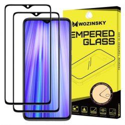 Wozinsky 2x edzett üveg tempered glass Teljes Glue Super Tough képernyővédő fólia teljes képernyős kerettel tok barátságos Xiaomi redmi Note 8 Pro fekete üvegfólia