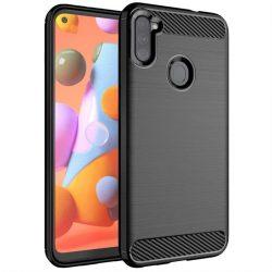 Carbon tok Rugalmas tok TPU tok Samsung Galaxy A11 / M11 fekete telefontok