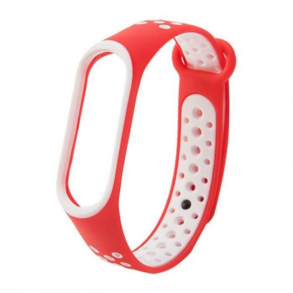 Csereszíj Xiaomi Mi Band 4 / Mi Band 3 Dots piros-fehér