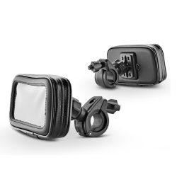 Univerzális kerékpárra/motorkerékpárra szerelhető, por- és cseppálló telefontartó - Fly B03-I5 - fekete