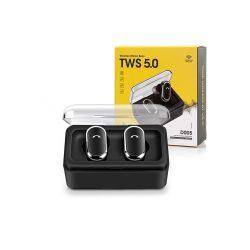 TWS Bluetooth sztereó headset v5.0 + töltőtok - TWS D005 True Wireless Earphones - black
